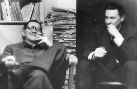 Bertolt Brecht et Vladimir Pozner à Berlin, années 1950.